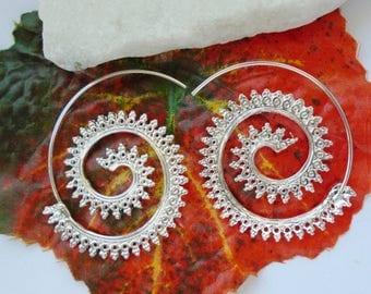 Earrings, earrings, tribal, spiral, hoops, hippie, boho, Goa, metal, silver plated