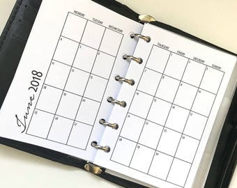 Monthly On 2 Pages With Grid Printed Planner Inserts - Pocket Size - Grid Between Months