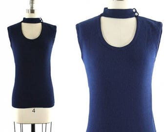 1970s blue space age tank top / mod cut out tank / navy blue sleeveless shirt S