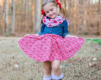 Red and White Floral Circle Skirt Handmade Skirt Twirly Skirt Twirl Floral