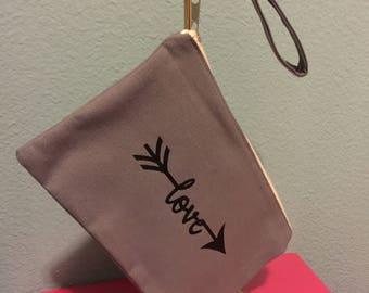 Canvas wristlet, gray wristlet, love arrow