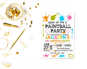 Paintball Invitation,Paintball Invite, Paintball Birthday Party, Paintball Printables, Paintball Party, paintball birthday