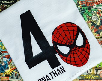 SPIDERMAN Custom Birthday Shirt with Age + Name