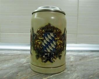 Beer Stein / Beer Mug with Tin Lid Bavaria Germany