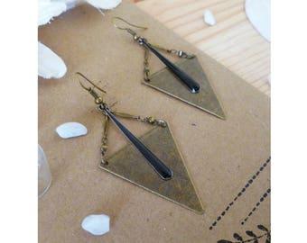 Triangle Locket TRIKA ▷ earrings, bronze & a long drop black!