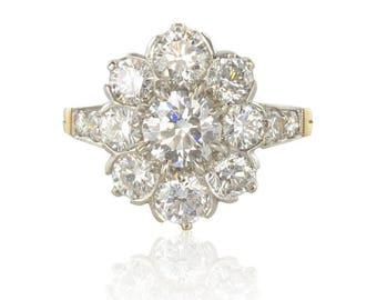 Daisy platinum diamond ring gold