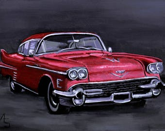 """Red Cadillac, Acrylic painting 6"""" x 8"""". Sold with or without frame. Gift for car enthusiast. Automotive art."""