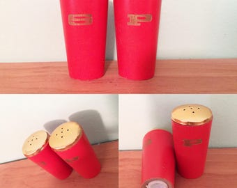 Midcentury Modern Wooden Salt and Pepper Shakers Orange and Gold