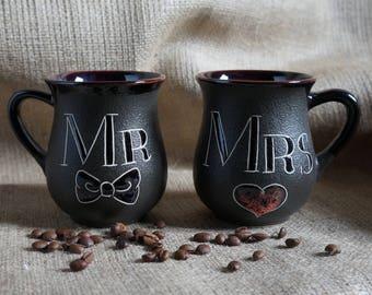 Wedding gift for couple mugs Mr and Mrs mugs His and Hers mugs engagement mug set Bride and groom gift set Ceramic coffee mug Bridal gift
