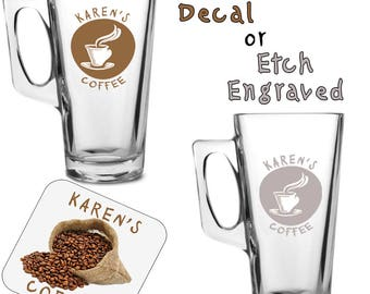 Cup Insignia Latte Coffee Glass Colour Decal OR Etch Engraved Personalised