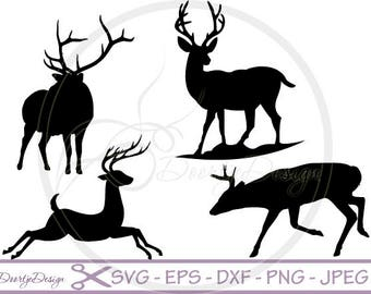 SVG Reindeer in vector, SVG cut files, Deers, scrapbook supplies, Vector Files, Clip Art, svg files, DXF files, Christmas