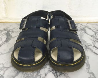 Kids Unisex Dr Marten Air Wair Navy Leather Moby Fisherman Sandals. Infant UK Size 8