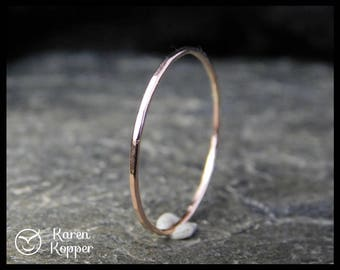 Super skinny ring, 14k Solid Rose Gold ring, thin ring, made at your size. Skinny ring, stacking ring. Wedding band, engagement ring.