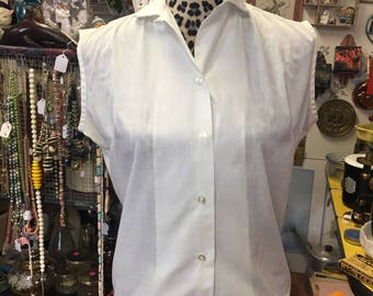 1960 Smart Lady Washable sleeveless white blouse, button down Rockabilly