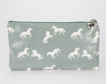 Oilcloth Pencil case - Horse print - Zip pouch- Oilcloth Pencil pouch- Zip wallet- School bag- Zipper pouch- Womens wallet- Laminated cotton