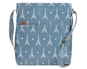 SALE! Crossbody College laptop Bag - Paris Eiffel Tower- Oilcloth computer school bag- Work messenger- Ladies University Laminated purse