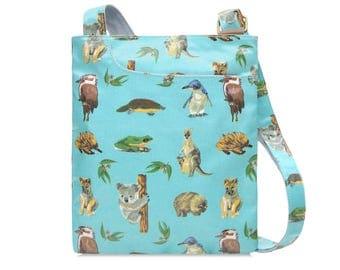 SALE! Ladies Oilcloth Pocket Crossbody purse - Australian animal print- Kangaroo - Laminated coated cotton - Womens shoulder bag handbag