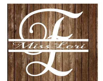 E split letter Samantha  font 2 elegant monogram  dfx SVG  decal  signs vinyl decal, wood sign, t shirt, wedding svg