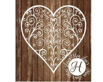 Heart FLOURISH  Fancy Swirl SVG DFX Cut file  Cricut explore file  decal wood signs scrapbook vinyl decal wood sign t shirt cricut cameo