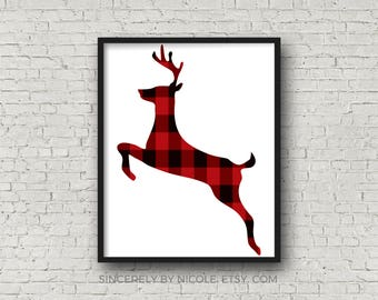 Deer Print, Christmas Printable, Holiday Print, Deer Printable, Stag Print, Printable Art, Christmas Deer, Buffalo Plaid, Deer Art Print