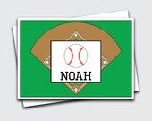 Stationery Set for Kids / Baseball / Stationery Set / Baseball Note Cards (Item #1702-011FO)