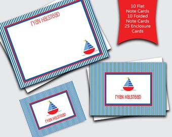 Personalized Stationery for Boys / Sailboat Stationary Set / Boat Notecards for Kids / Custom Blank Thank You Notes (Item #1702-033FFC)