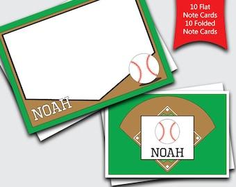 Baseball Personalized Kids Note Cards / Sports Stationery Set / Boys Stationary / Blank Notecards / Custom Thank You Notes (#1702-011FF)
