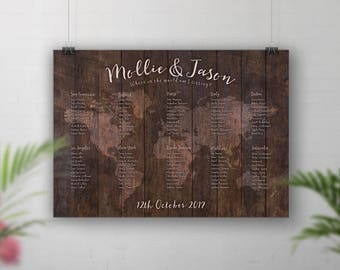 Rustic Wedding Seating Chart, World Map Guest Chart, Table Plan Map, Wedding Sign, Guests Seating Plan, Table Seating, Travel Theme Decor