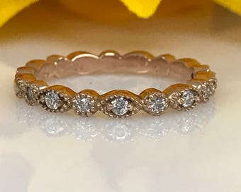 Diamond Wedding Band 14K Rose Gold #5206