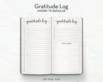 Standard TN, Gratitude Journal, Travelers Notebook, Gratitude Notebook, Gratitude Planner, Midori Insert, Bullet Journal, Midori