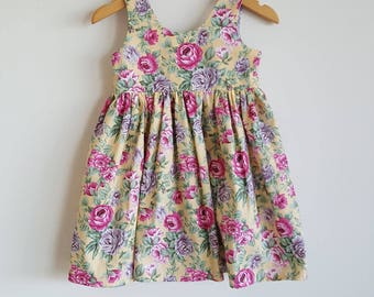 Dress // tea party // yellow // pink // purple // floral // girl gift // occassion