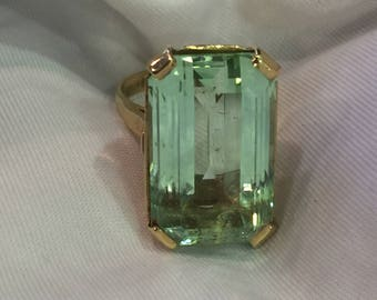 Beryl ring Emerald cut- large stone ring-before 1998- size 7- gold ring- beryl stone- gift for her- birthday gift- prom gift- wedding gift