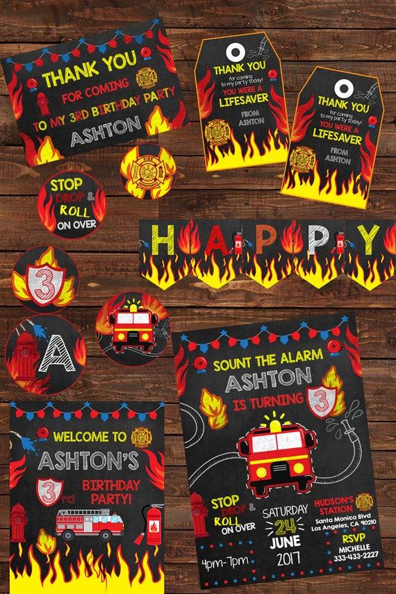 Fire Truck Party Package - Chalkboard Fireman Birthday Party ...