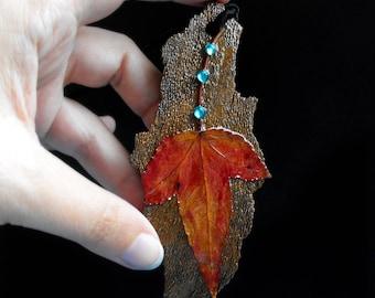 Real leaf necklace fall necklace elven forest fairy tree bark woodland fantasy elvish enchanted forest elf necklace elven wedding forest elf