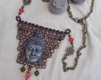 Buddha necklace copper and bronze chainmaille, hand of Buddha, Buddhist meditation jewelry, jewelry handmade silver Buddha head zen