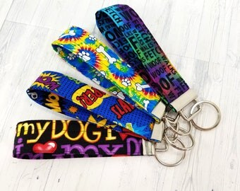 Dog Key Fob - Key Wristlet - Key Ring - Keychain - Teacher Gift - Dog Lover Gift - Best Friend Gift - Mom Gift - Teen Driver - Tie Dye