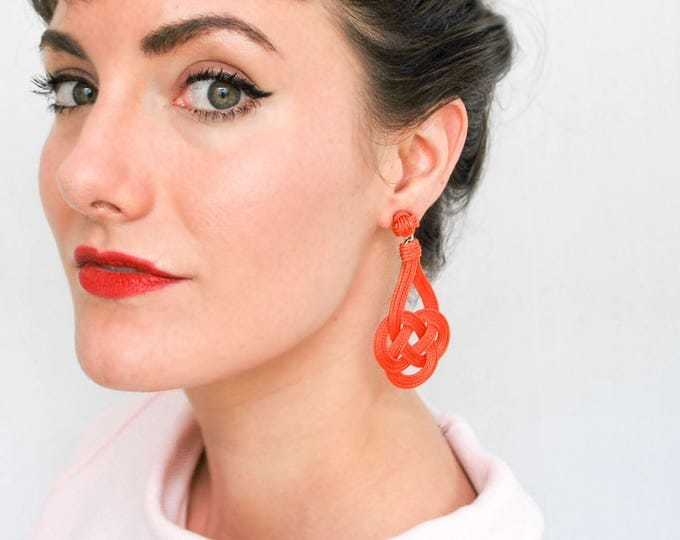 Large Trinity Knot Earrings, Macrame earring, macrame, love knots, nautical knot