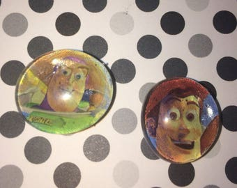 Buzz and Woody pebble magnets