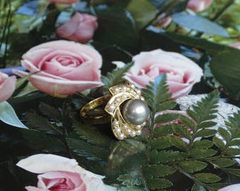 Antique 18K Gold / Pearl Ring (size 7)