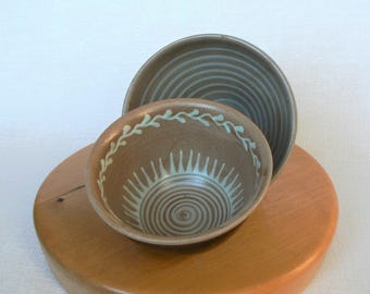 2 Ceramic BOWLS Vintage/ Set of 2 Small Bowls/ Colored Glaze/ Latvian Ceramics Handmade/ Latvia (02)