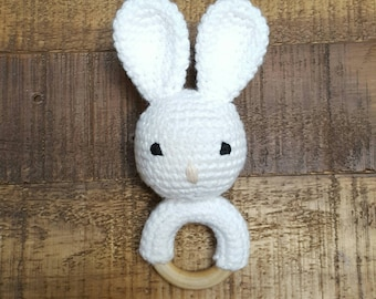 Bunny Rattle Toy - Baby Rattle - Crochet Rattle - Bunny Rattle Toy - Teething Toy - Baby Toy - Baby Shower Gift - Cotton Toy