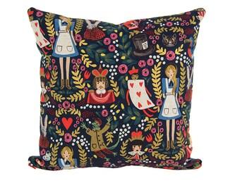 Alice in Wonderland Pillow Black