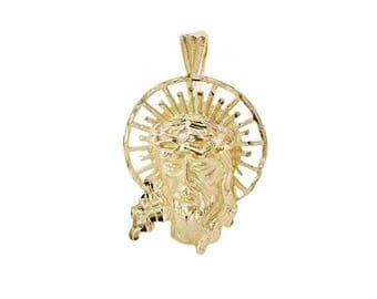 14K Yellow Gold Diamond Cut Jesus Head Pendant