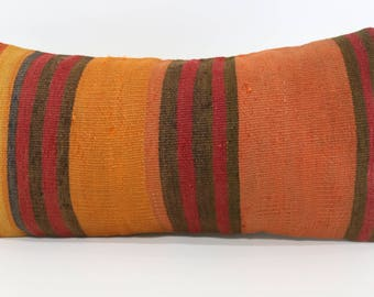 12x24 Striped Kilim Pillow Floor Pillow Orange Pillow Red Black Striped Kilim Pillow 12x24 Decorative Turkish Cushion Cover  SP3060-1100