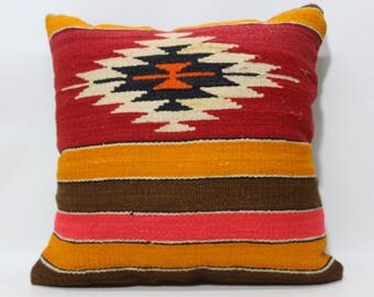 Red Orange Brown Pink Color Striped Kilim Pillow 24x24 Geometric Kilim Pillow Floor Pillow Ethnic Pillow Cushion Cover SP6060-1235