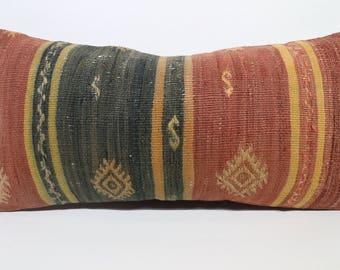 12x24 Turkish Klilim Pillow Lumbar Pillow 12x24 Handwoven Kilim Pillow Floor Pillow Anatolian Kilim Pillow Cushion Cover  SP3060-1332