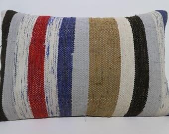 Cotton Pillow Multicolor Kilim Pillow Striped Kilim Pillow 16x24 Anatolian Turkish Kilim Pillow Home Deco Decorative Kilim Pillow SP4060-968