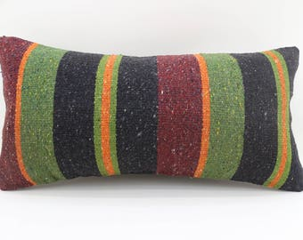 10x20 multicolor striped kilim pillow vintage kilim pillow lumbar pillow sofa pillow ethnic pillow anatolian kilim pillow SP2550-1534