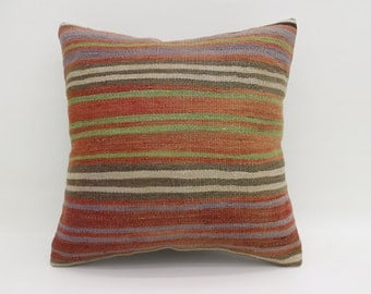 20x20 Pillow Striped Pillow Large Turkish Kilim Pillow Orange Kilim Pillow White  Pillow Boho Cushion Cover Pillow Red Pillow  SP5050-2782