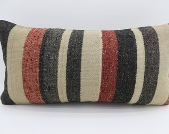 Striped  Kilim Pillow 12x24 Multicolor Kilim Pillow 12x24 Lumbar Pillow Red  and fawn  Kilim Pillow Throw Pillow Cushion Cover SP3060-1769